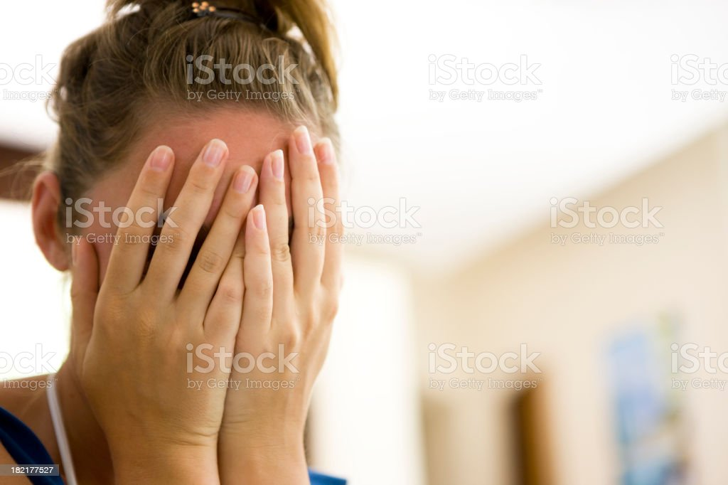 Shy woman stock photo