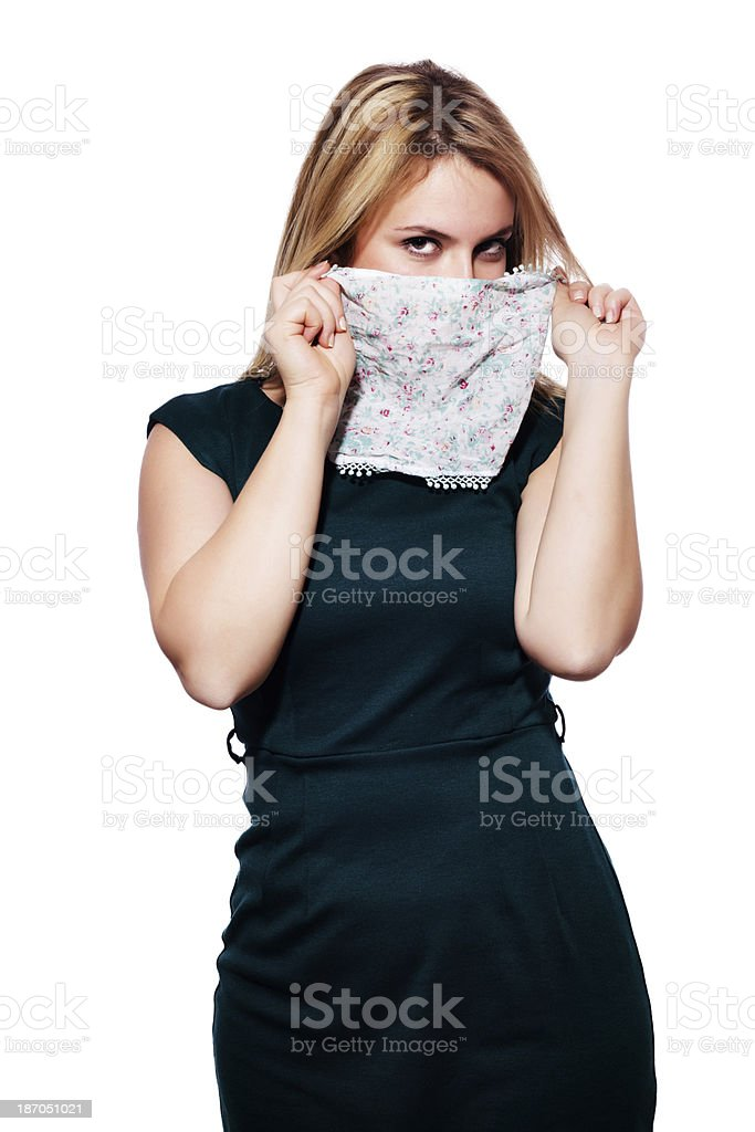 Shy women with a veil- Stock Image royalty-free stock photo