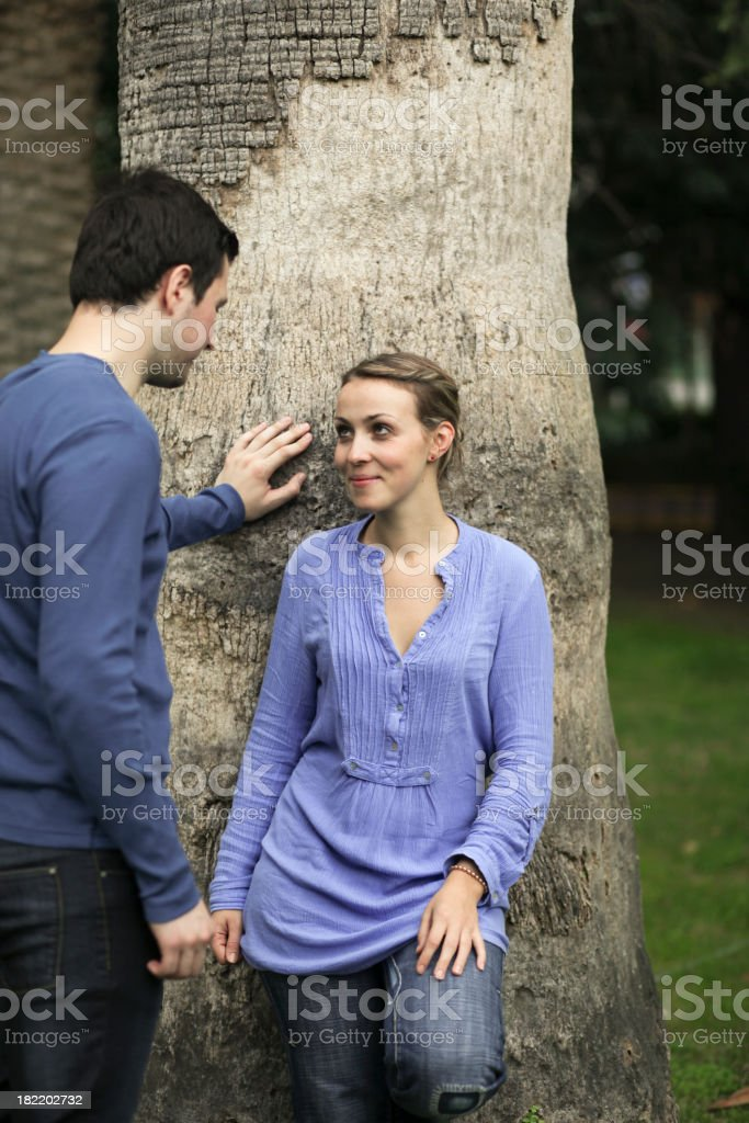 Shyness of a new love royalty-free stock photo