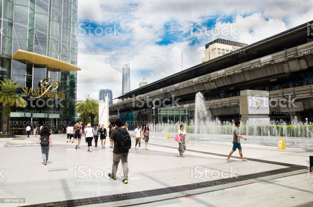 Siam Cemter and Siam Paragon shopping and entertainment area in Bangkok, Thailand stock photo