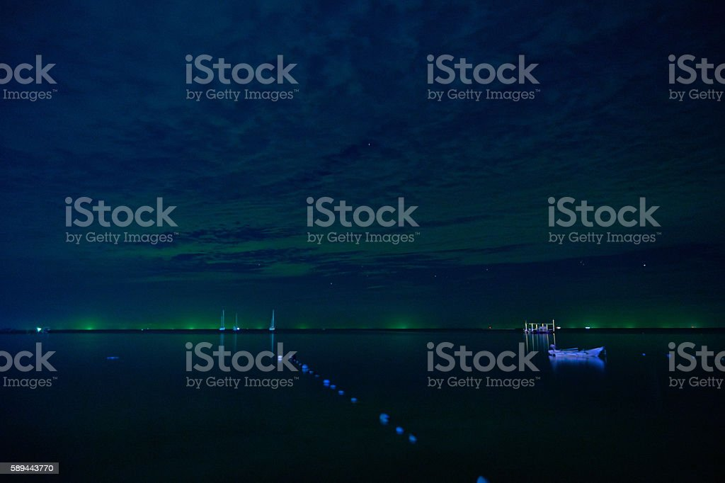 Siam gulf at night stock photo