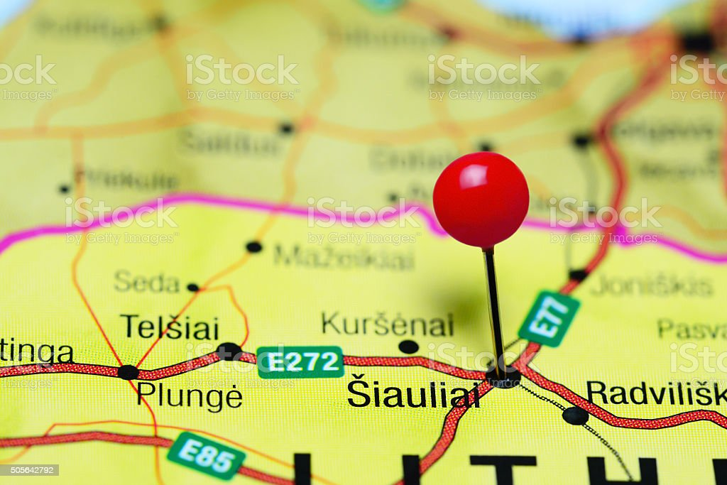 Siauliai pinned on a map of Lithuania stock photo