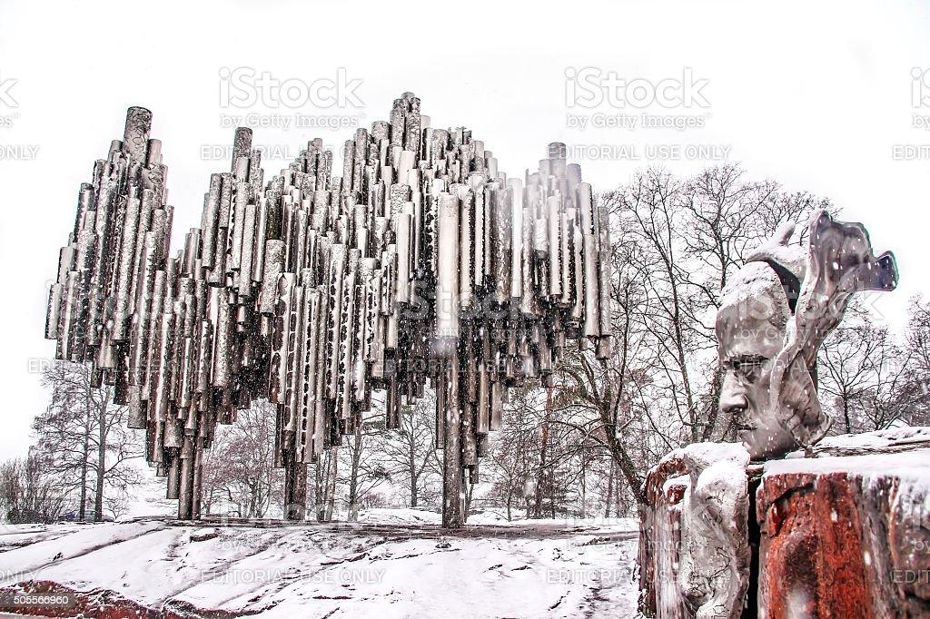 Helsinki, Finland - March 03, 2014: Sibelius monument stock photo