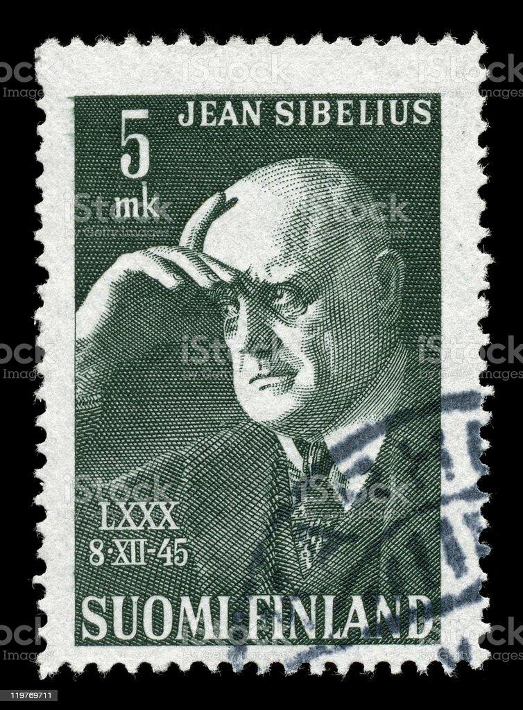 Sibelius on a stamp stock photo