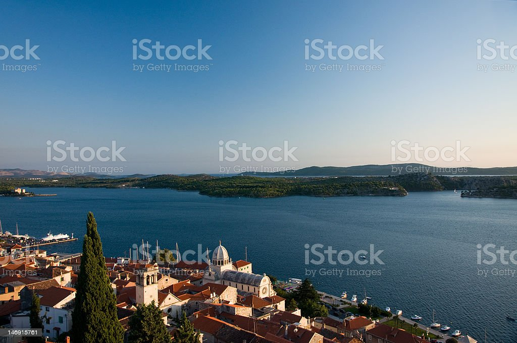Sibenik and the Islands Behind stock photo
