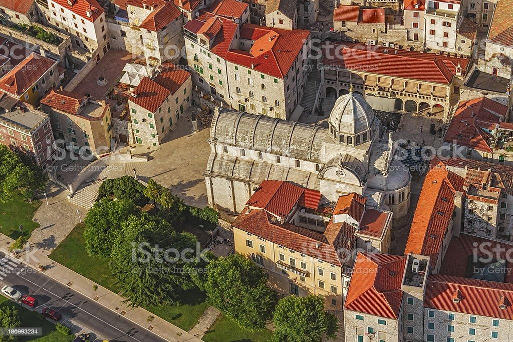 Sibenik cathedral aerial stock photo