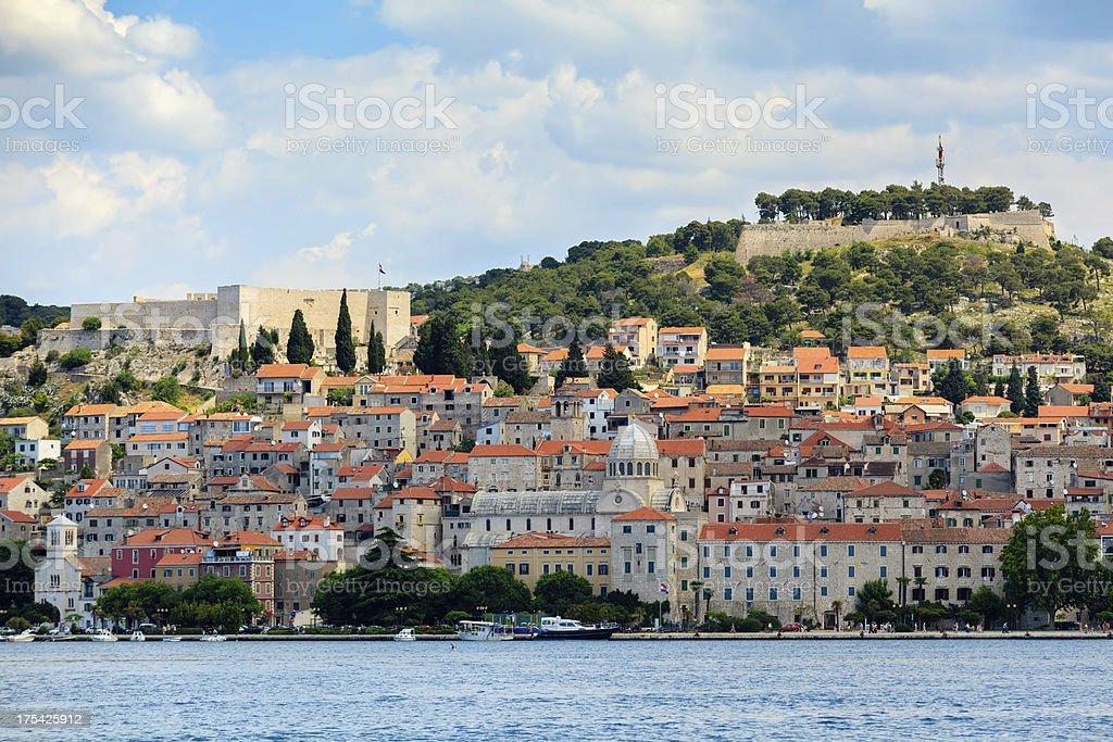 Sibenik - Croatian town during nice summer day stock photo