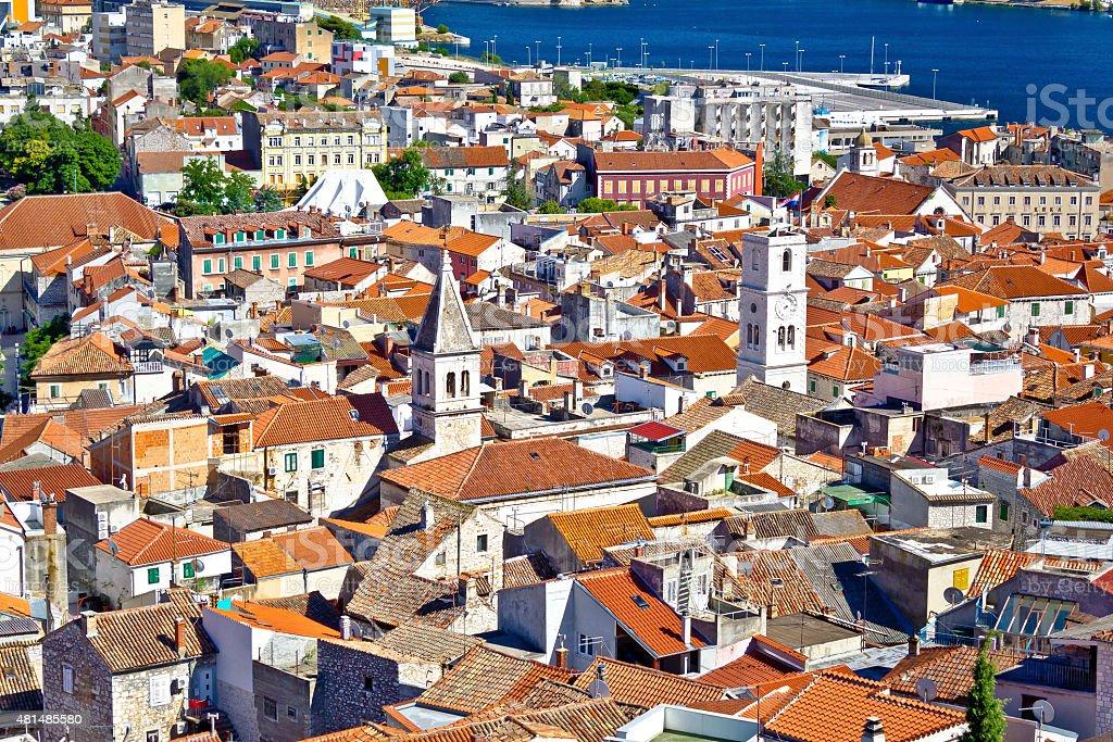 Sibenik old town aerial view stock photo