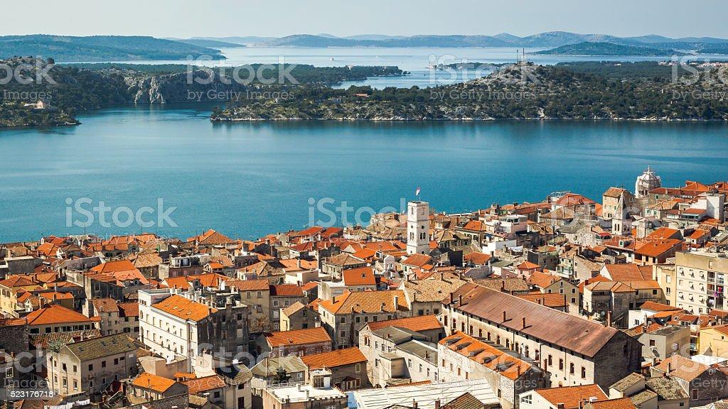 Sibenik panorama  from Barone fortress stock photo