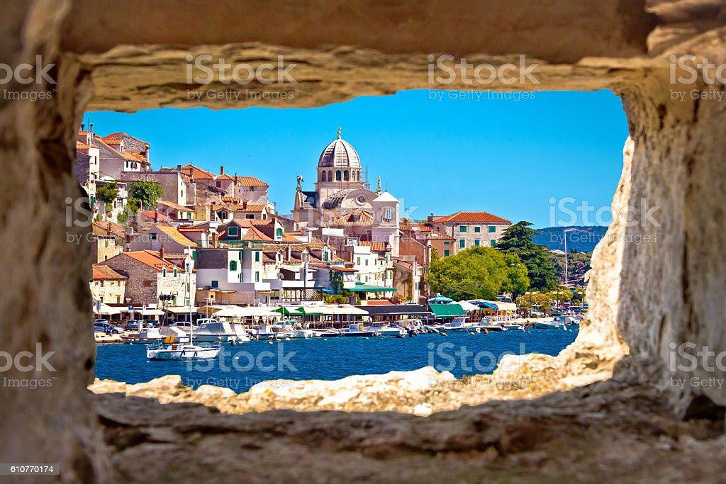 Sibenik waterfront through stone window view stock photo