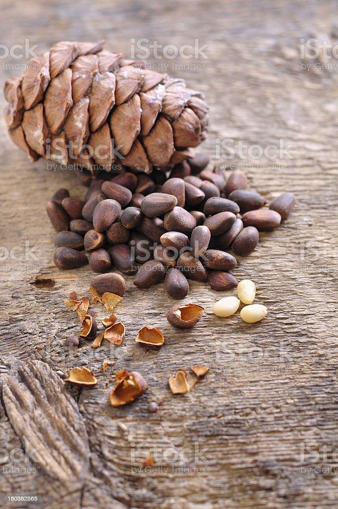 Siberian pine nuts stock photo