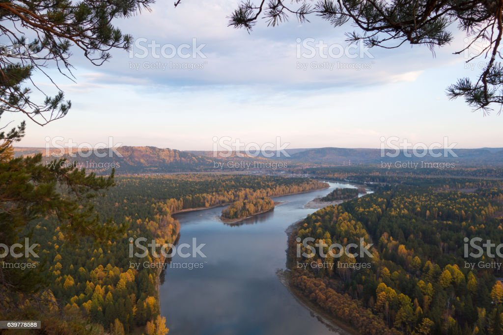 Siberian s-shaped river in autumn. stock photo