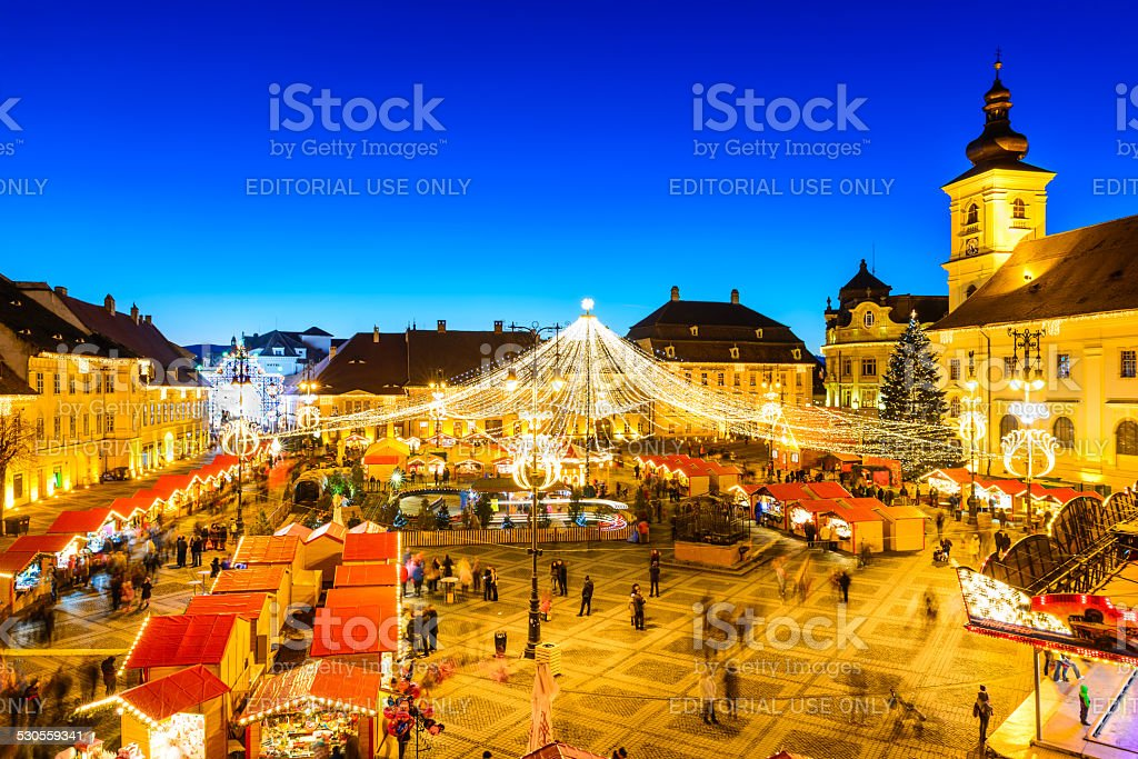 Sibiu Christmas Market, Romania stock photo
