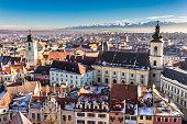 Sibiu, Transylvania, Romania. HDR photo. Panoramic view from abo