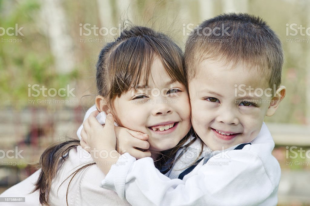 Sibling Hug royalty-free stock photo