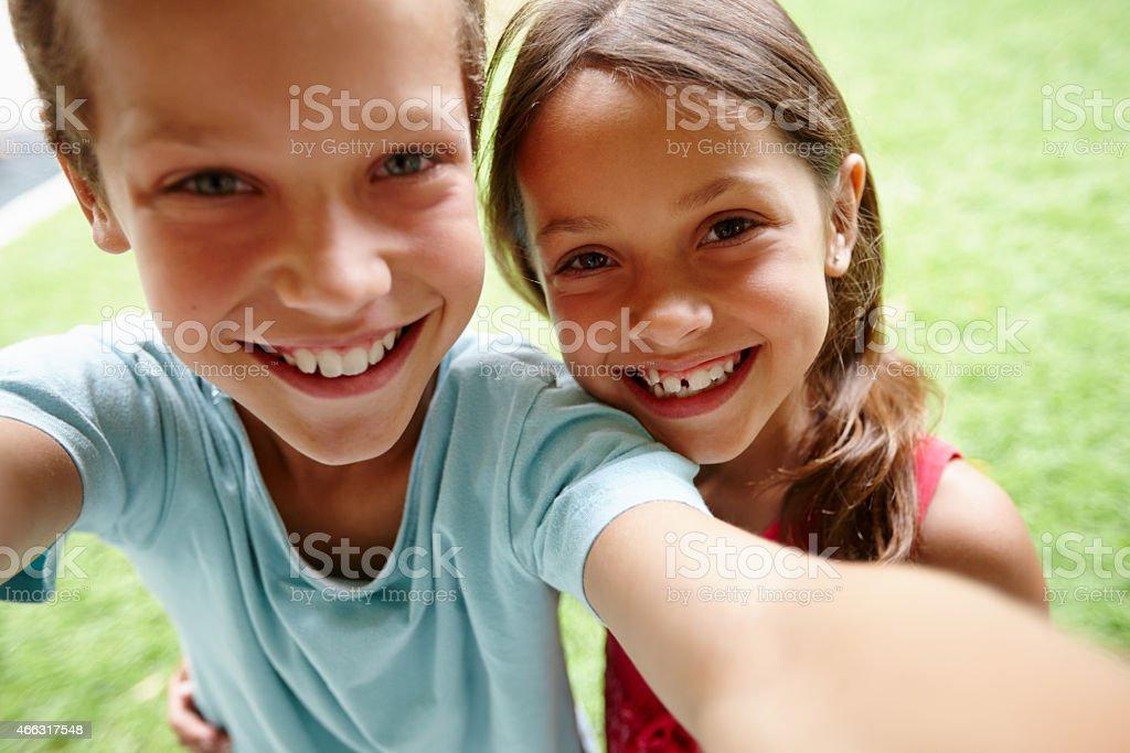 Sibling selfie stock photo