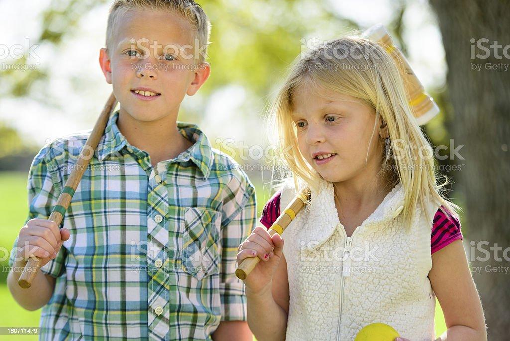 Sibling Summer Games stock photo