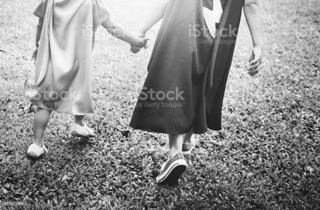 Siblings Dressup Playtime Park Concept stock photo