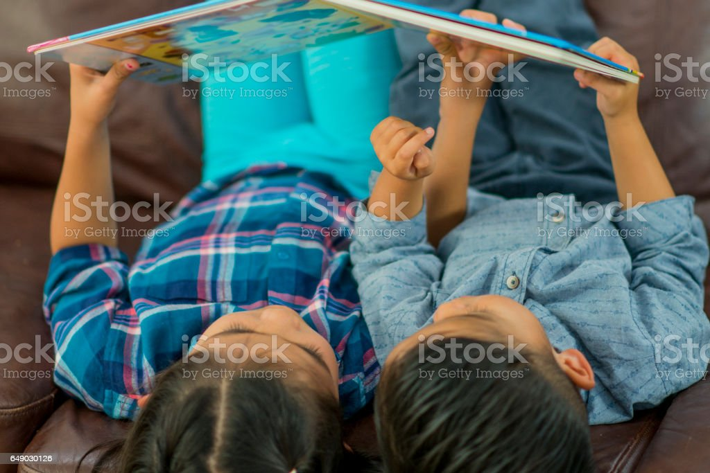 Siblings Reading Together stock photo
