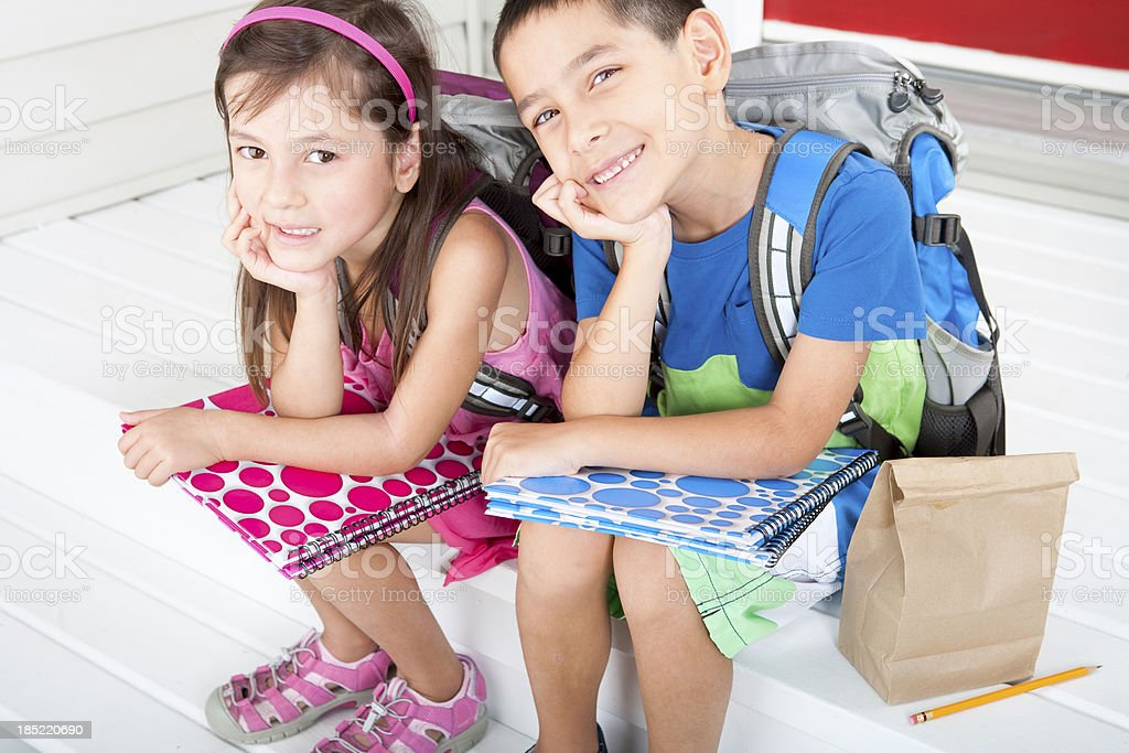 Siblings student ready for school stock photo