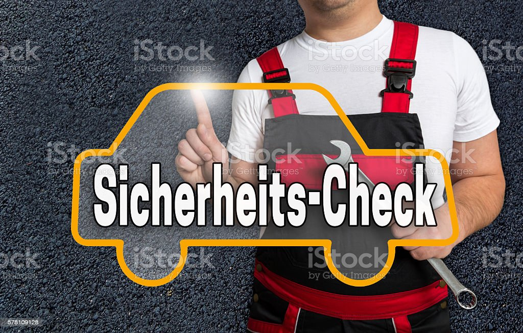 Sicherheits-Check (in german security check) touchscreen is oper stock photo