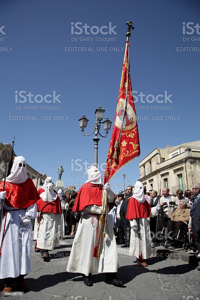 sicilan easter procession stock photo