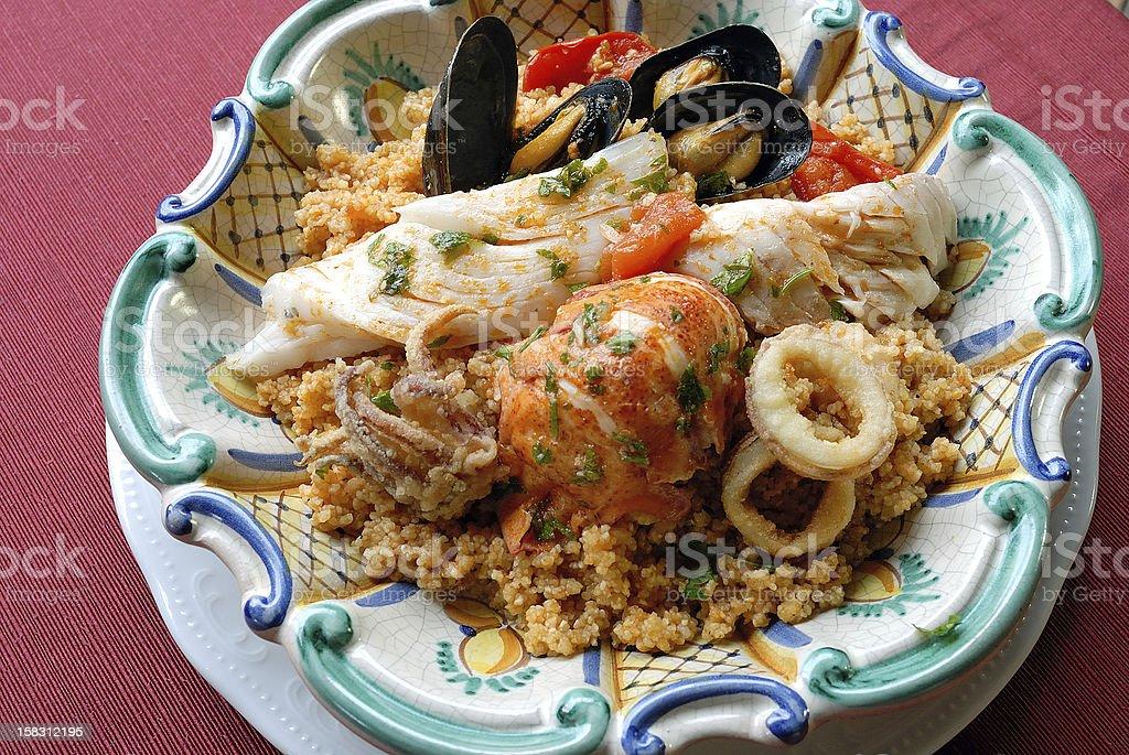 Sicilan fish couscous stock photo