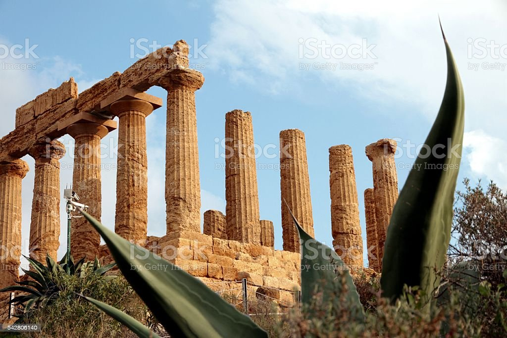 Sicilian archaelogical site ancient Greek temple of Juno Agrigento Italy stock photo