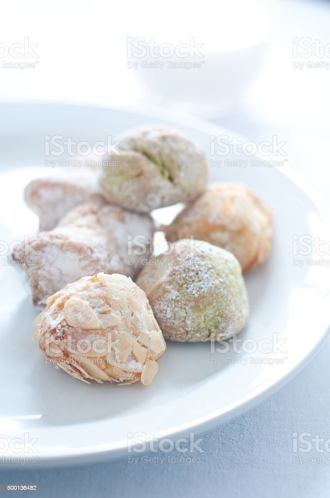 Sicilian biscuits made with almond paste stock photo