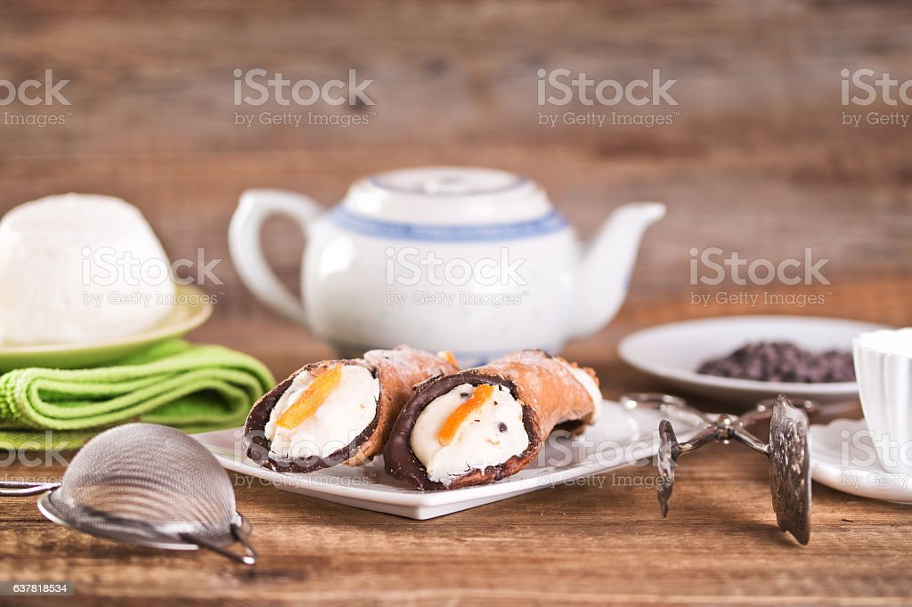 Sicilian cannoli. stock photo