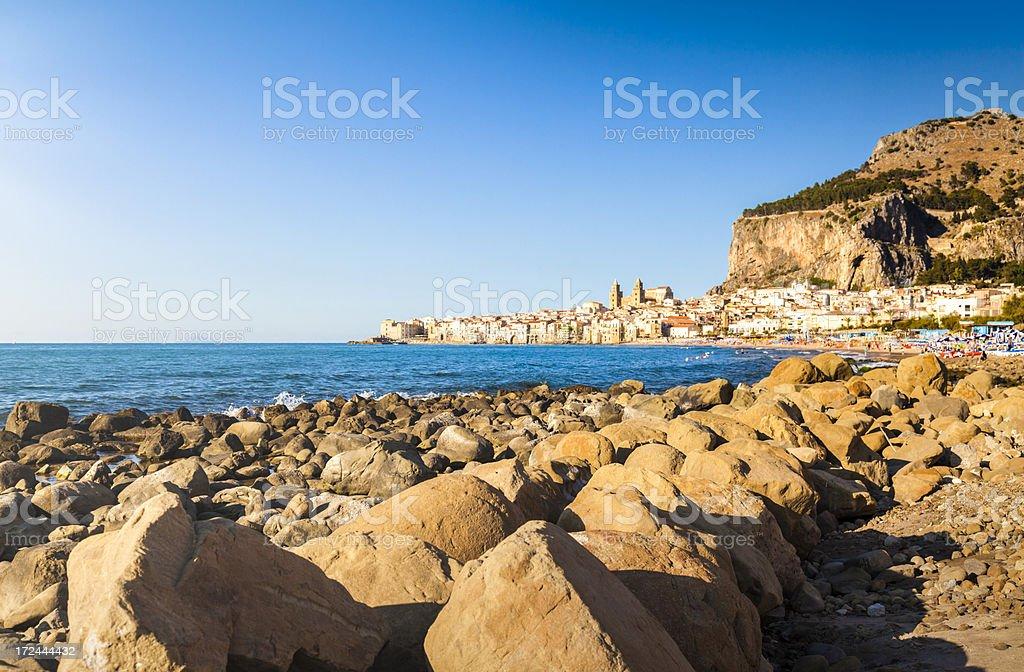 Sicilian coast near Cefalu stock photo