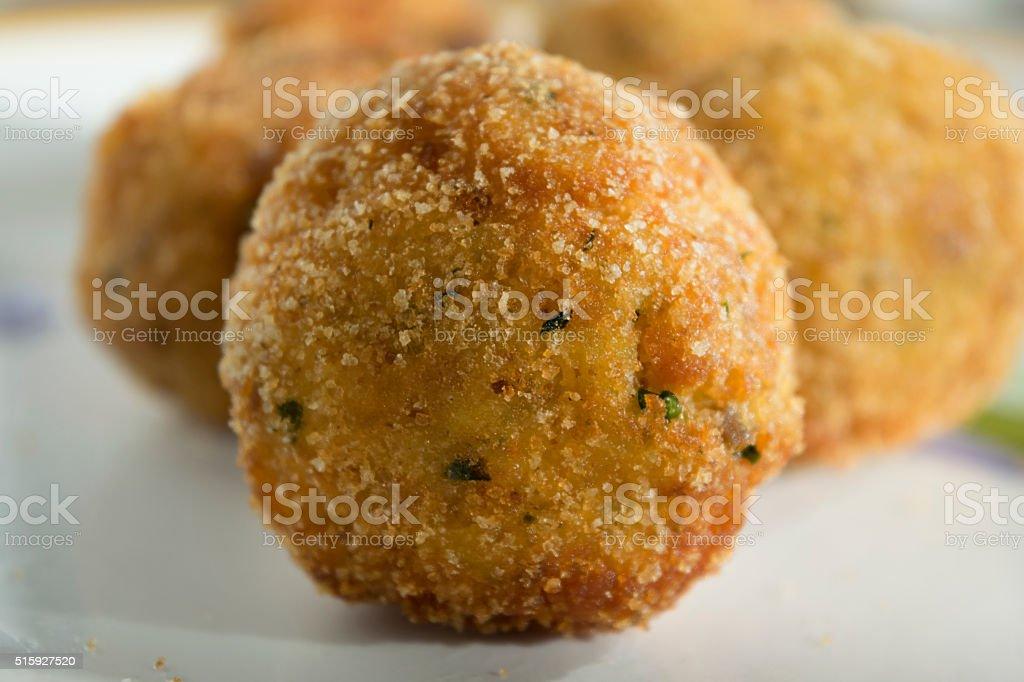 sicilian fried arancina stock photo