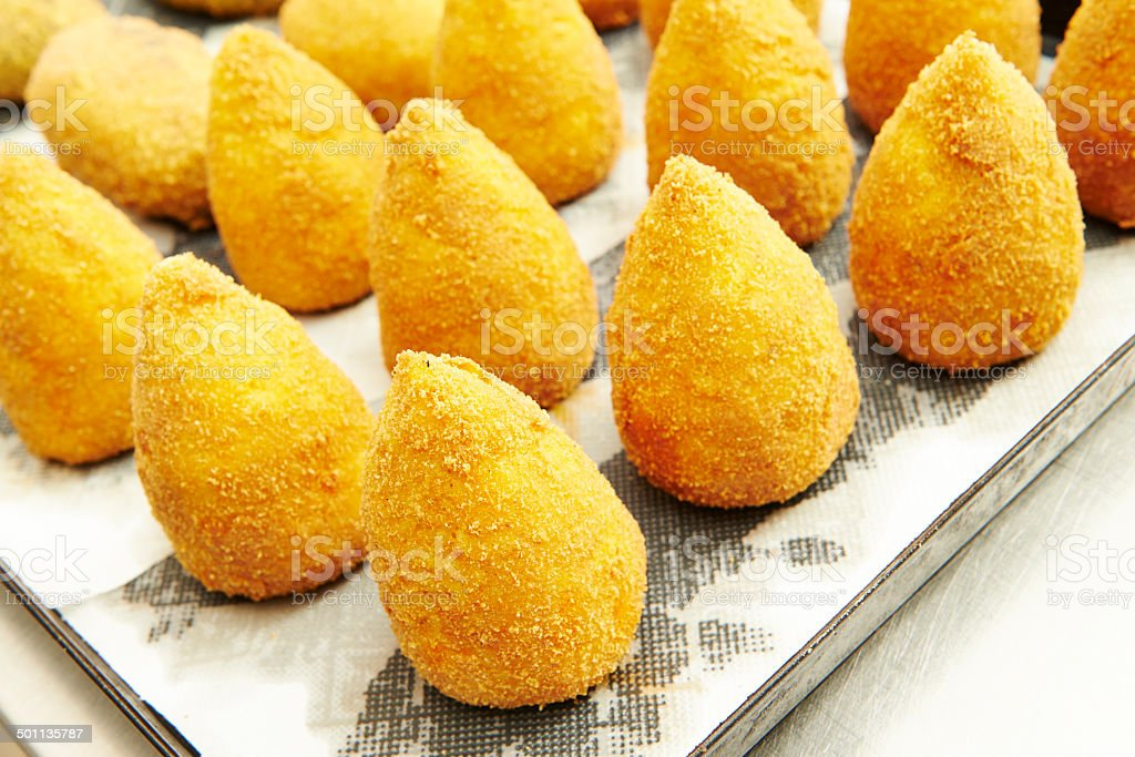 Sicilian Fried Rice Balls stock photo