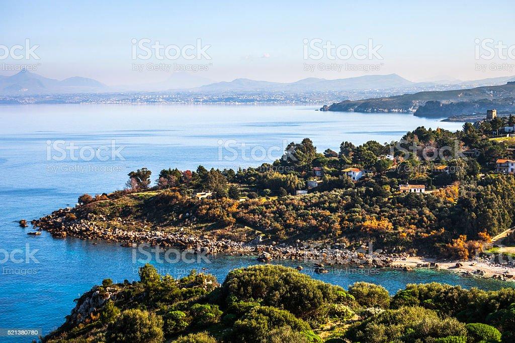 Sicilian landscape, Scopello. stock photo