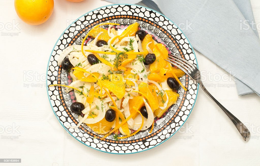Sicilian salad with oranges, fennel and olives stock photo