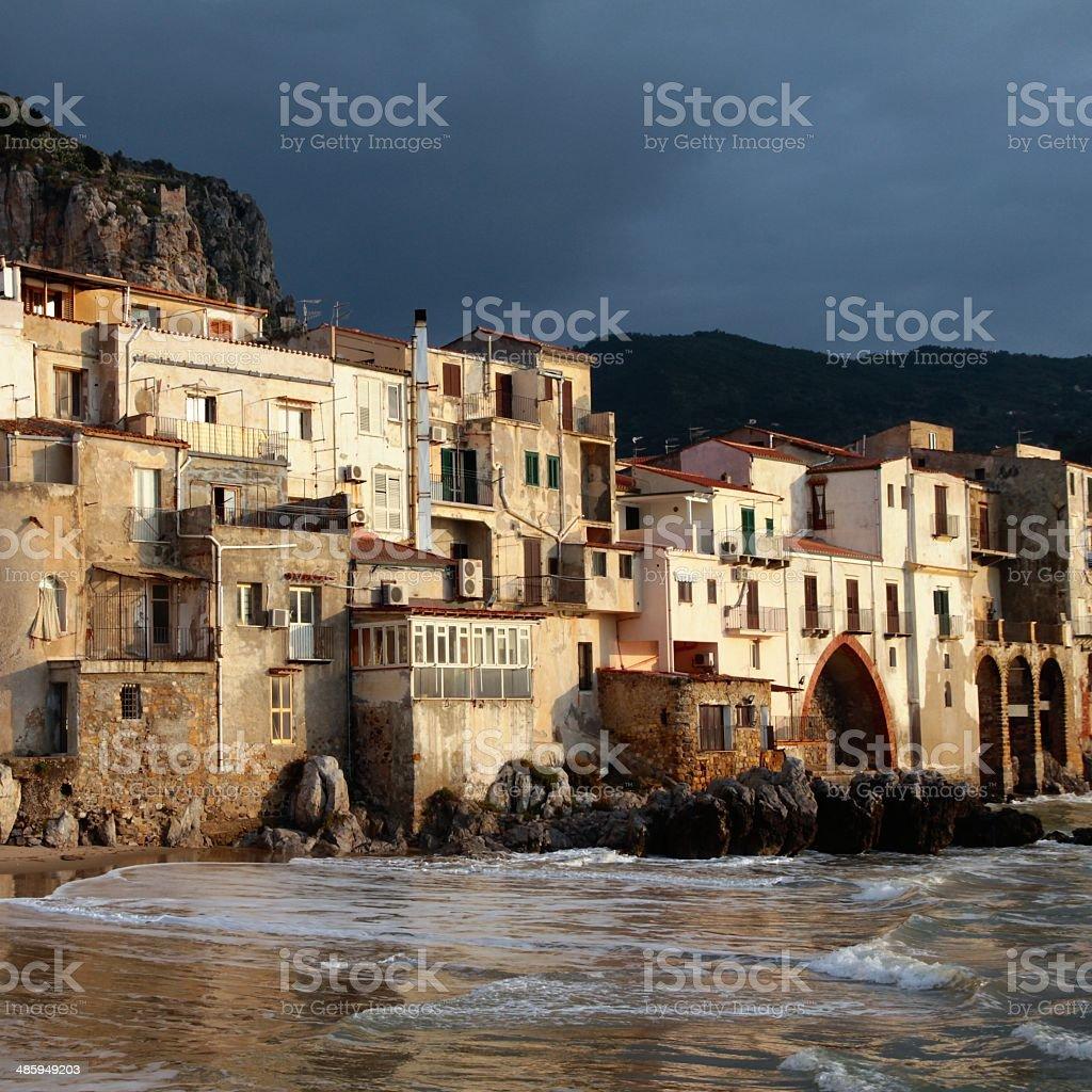 Sicilian small village Cefalù waterfront stock photo