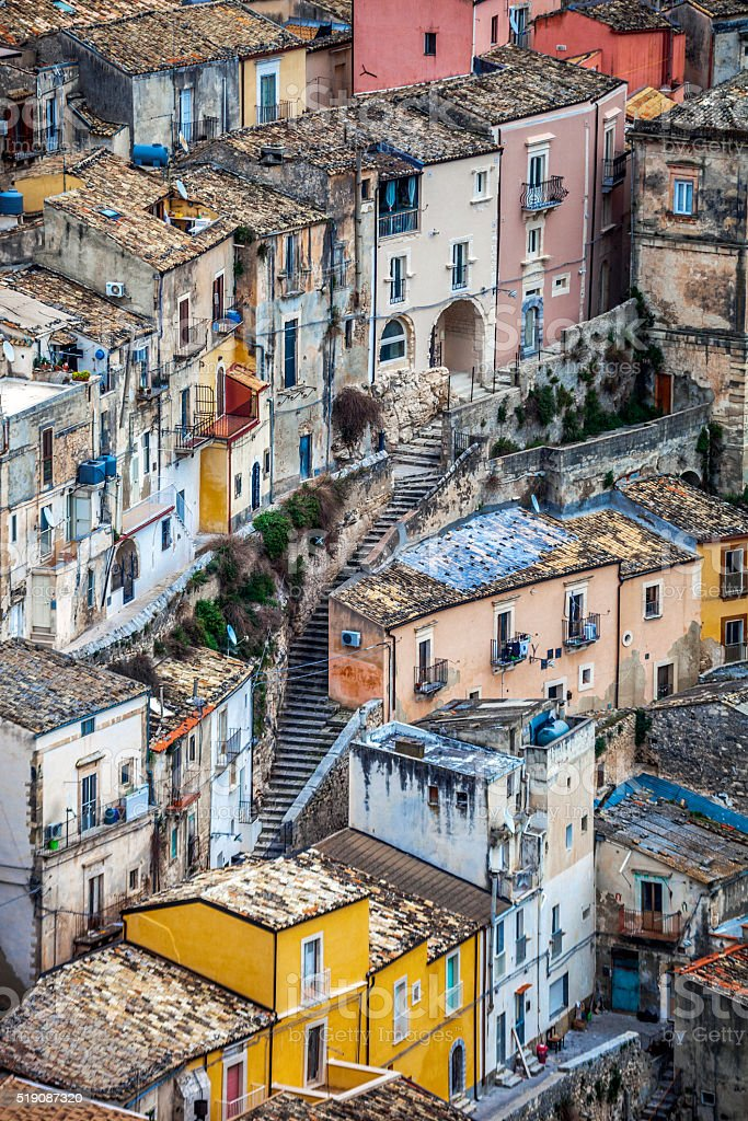 Sicilian town, Ragusa. stock photo