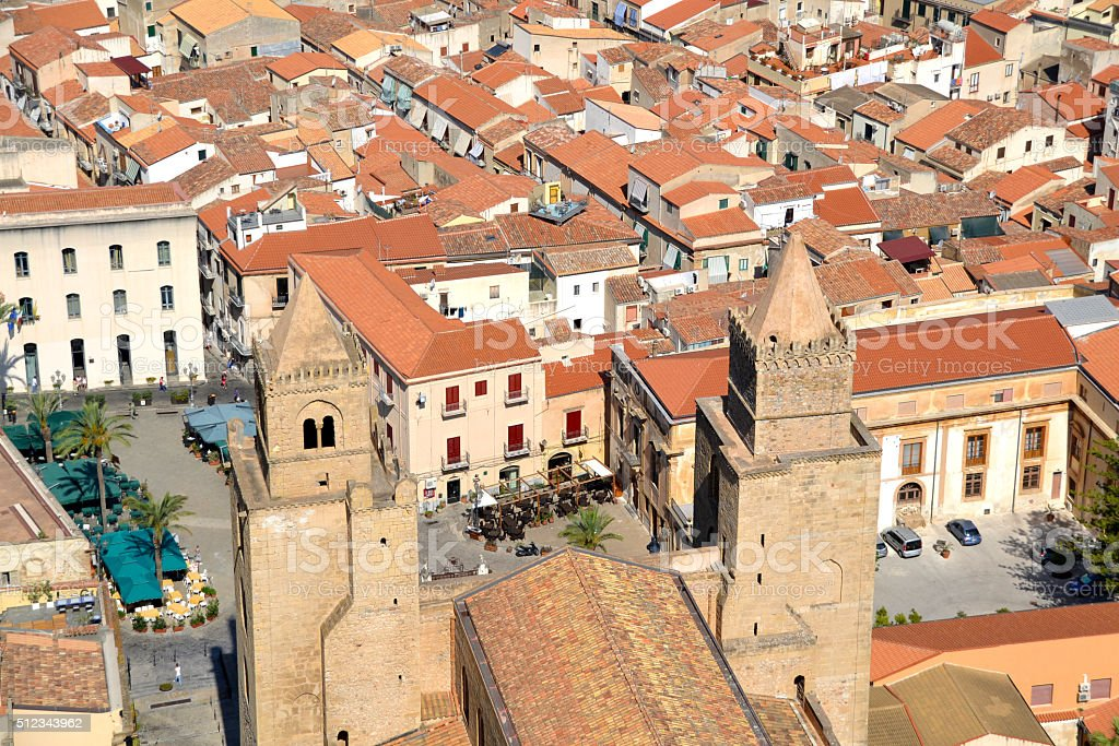 Sicilian town roofs stock photo