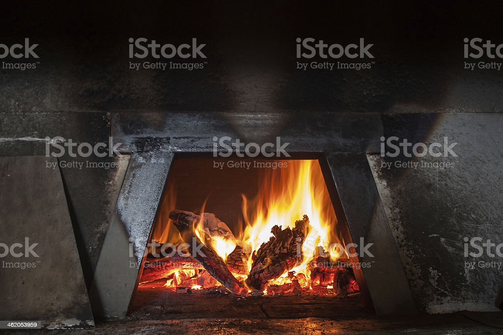 Sicilian wood stove firebox stock photo