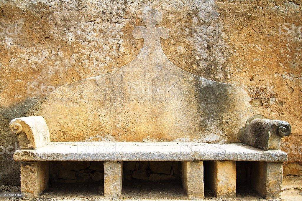 Sicily: Beautiful Old Baroque Stone Bench stock photo