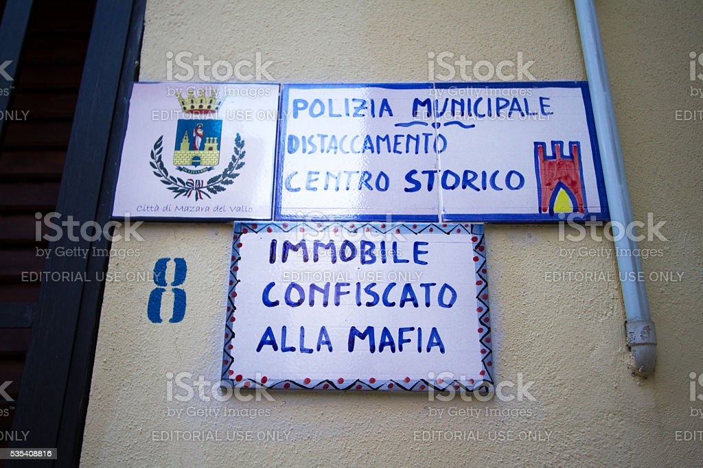 Sicily: Building Confiscated from the Mafia stock photo