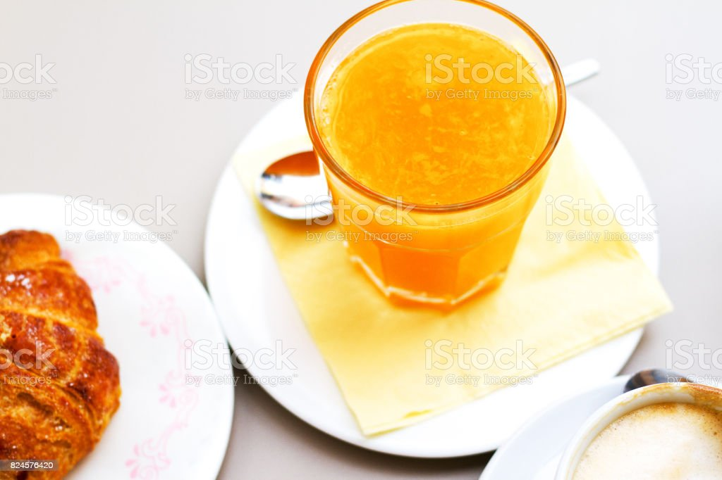 Sicily: Croissant with Fresh OJ and Coffee Breakfast stock photo
