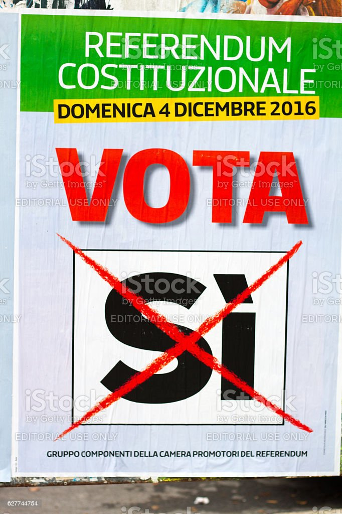 Sicily, Italy: Political Poster Urging 'NO' Vote on Referendum stock photo