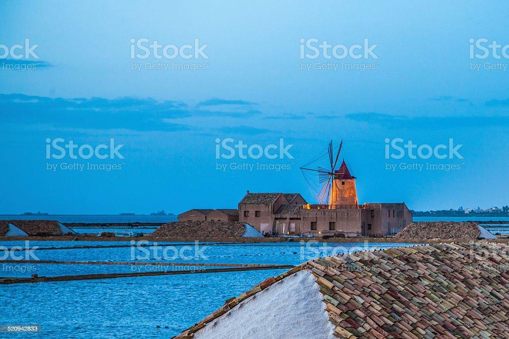sicily landscape with saline stock photo