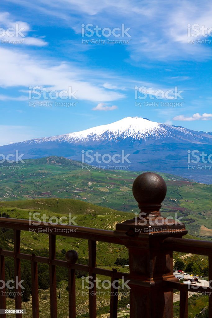Sicily: Panorama of Mount Etna in Spring stock photo