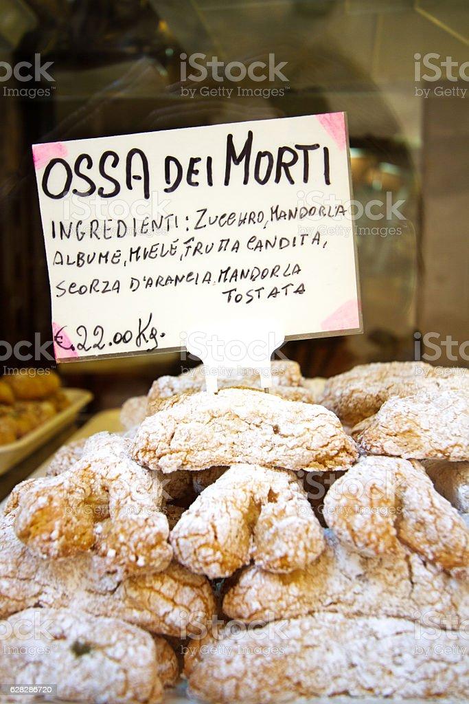 Sicily: Pile Sicilian Cookies (Ossa dei Morti) in Shop Window stock photo