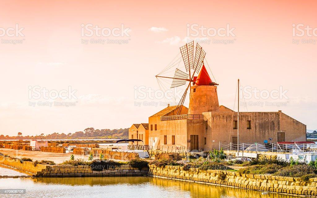 Sicily sea salt reserve, Trapani, Italy stock photo