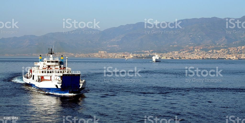 Sicily Strait of Messina Calabria Italy Ferry stock photo