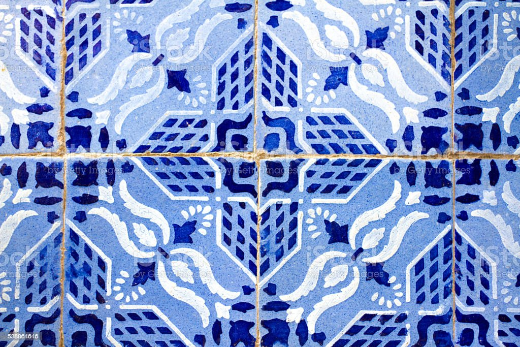 Sicily Style: Antique Floor Tiles in Blue and White (Close-Up) stock photo