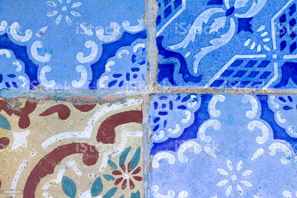 Sicily Style: Antique Floor Tiles in Blue, White, Brown (Close-Up) stock photo